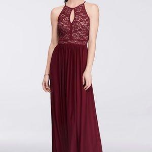 David's Bridal Lace Keyhole Tie Back Halter Dress